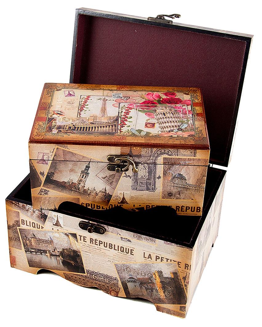 Набор сундучков Roura Decoracion, 26 х 19 х 12 см, 3 шт. 3465934659Набор сундучков Roura Decoracion станет полезным и особо желанным подарком для женщин, так как в них можно хранить что угодно, будь то инструменты для рукоделия, украшения или просто маленькие женские секреты..Набор состоит из трех предметов. Правила ухода: регулярно удалять пыль сухой, мягкой тканью.