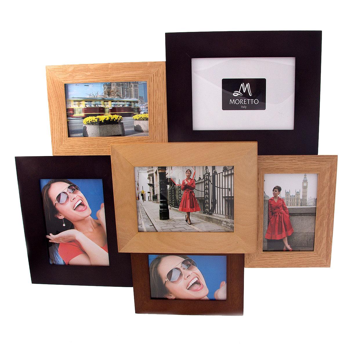Фоторамка-коллаж Moretto, на 6 фото. 3819538195Фоторамка-коллаж Moretto - прекрасный способ красиво оформить ваши фотографии. Фоторамка выполнена из дерева и защищена стеклом. Фоторамка-коллаж представляет собой шесть фоторамок для фото оригинально соединенных между собой. Такая фоторамка поможет сохранить в памяти самые яркие моменты вашей жизни, а стильный дизайн сделает ее прекрасным дополнением интерьера комнаты.