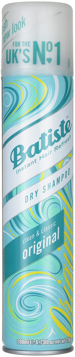 Batiste Сухой шампунь для волос Original, с нежным классическим ароматом, 200 мл503303Сухой шампунь Batiste Original с нежным классическим ароматом быстро очищает и освежает волосы. Сухой шампунь устраняет жирность корней, придавая скучным и безжизненным волосам необходимый блеск, без использования воды. Быстро освежает и повышает силу волос, придает телу волоса и текстуру и оставляет ощущение чистоты и свежести. Сухой шампунь идеален для использования, когда:- у вас нет времени мыть голову обычным шампунем,- у вас много других дел,- ваша жизнь - сплошной круговорот событий.Сухой шампунь быстро и эффективно абсорбирует грязь и жир, тем самым очищая волосы. Способ применения: Шаг 1. Распылите сухой шампунь на волосы на расстоянии 30 см. Шаг 2. Помассируйте голову несколько минут. Во время массажных движений пальцами сухой шампунь проникает в стержень волоса, абсорбирует грязь и жир, тем самым восстанавливая его.Шаг 3. Причешитесь и ваши волосы снова мягкие и чистые.Товар сертифицирован.