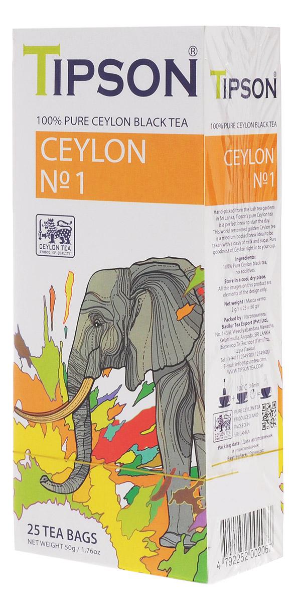 Tipson Ceylon №1 OPA черный чай в пакетиках, 25 шт80002-00Чай чёрный цейлонский байховый мелколистовой Tipson Ceylon №1 в пакетиках с ярлычками для разовой заварки. Чай, произрастающий на острове Цейлон, давно признан лучшим в мире. Эксперты Tipson предлагают вам чай №1, в котором найден гармоничный баланс между силой вкуса и элегантностью аромата.Всё о чае: сорта, факты, советы по выбору и употреблению. Статья OZON Гид
