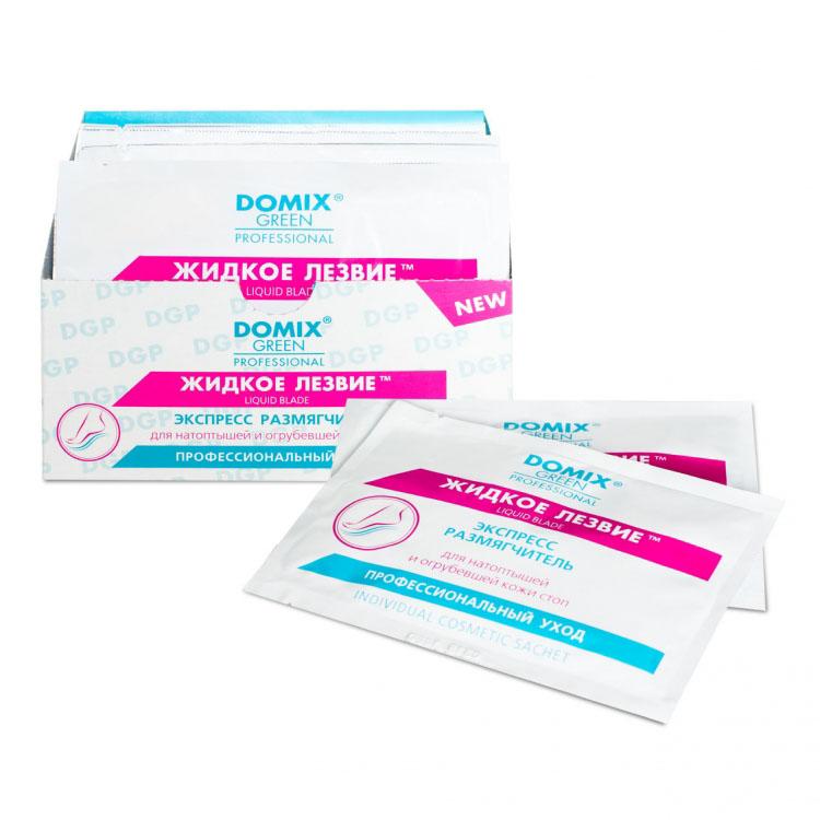 Domix Green Professional Жидкое лезвие (в одноразовой упаковке-саше), 17 г, 20х1шт616-106391Средство размягчает натоптыши и огрубевшую кожу на ступнях. Подготавливает к дальнейшему удалению педикюрной теркой, позволяет равномерно очистить ступню, не повреждая живые клетки эпидермиса. Исключает необходимость срезать кожу. Готовит ступню для аппаратного педикюра. Воздействуют только на ороговевший слой кожи ступней.