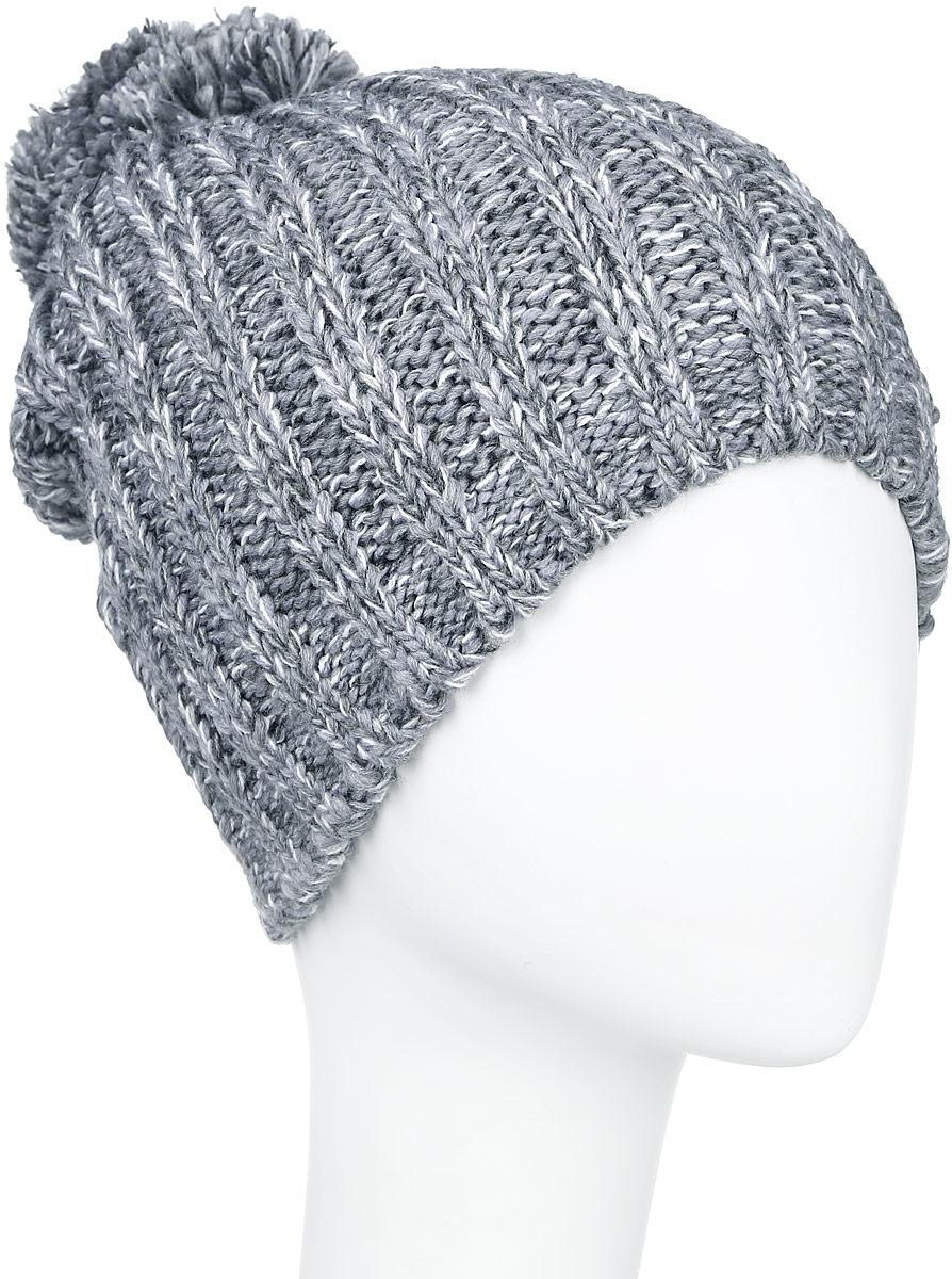 Шапка женская Finn Flare, цвет: серый. A16-32121_205. Размер 56A16-32121_205Стильная женская шапка Finn Flare дополнит ваш наряд и не позволит вам замерзнуть в холодное время года. Шапка выполнена из высококачественной, комбинированной пряжи, что позволяет ей великолепно сохранять тепло и обеспечивает высокую эластичность и удобство посадки. Изделие дополнено теплой флисовой подкладкой. Модель с удлиненной макушкой оформлена оригинальным узором и дополнена пушистым помпоном. Такая шапка станет модным и стильным дополнением вашего гардероба. Она согреет вас и позволит подчеркнуть свою индивидуальность!Уважаемые клиенты!Размер, доступный для заказа, является обхватом головы.