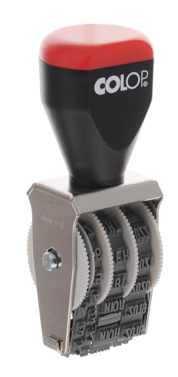 Colop Датер ленточный месяц прописью 3 мм03000Ленточный датер Colop с удобной рукояткой в металлическом корпусе используется для проставления даты производства, срока годности.Для получения оттиска предварительно окрашивается при помощи настольной штемпельной подушки. Дата устанавливается вручную при помощи колесиков. Оттиск однострочный. Высота шрифта - 3 мм, месяц указывается прописью.