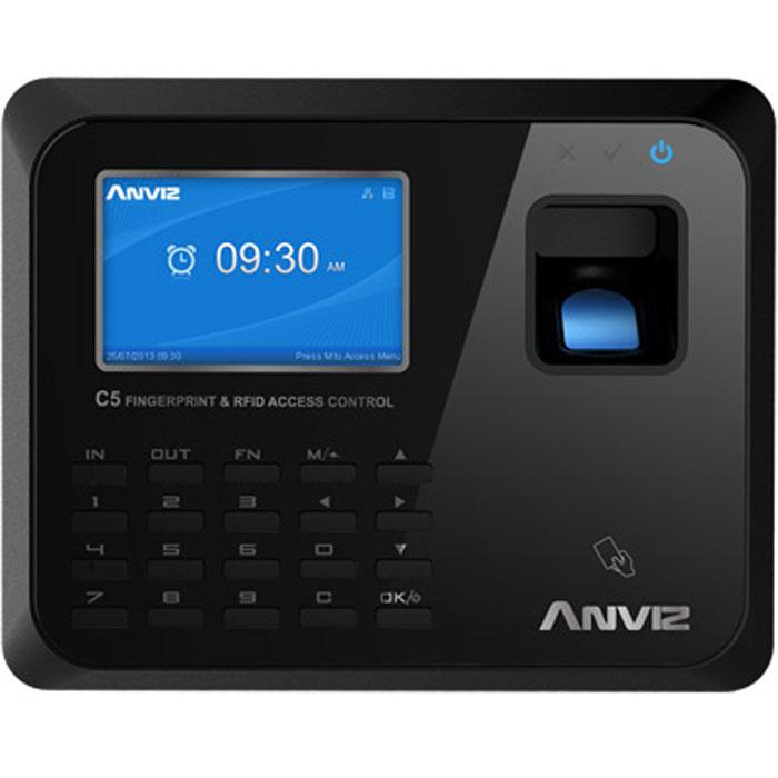 IVUE Anviz С5 сетевой терминал учета рабочего времениC5Терминал имеет тонкий изысканный дизайн, сканер отпечатков пальцев нового поколения обеспечивает быстрое распознавание сотрудников, а герметичный водо- и пыленепроницаемый корпус обеспечивает стабильную работу устройства. Сканирование отпечатка проходит менее чем за 0,5 секунды. Встроенный веб-сервер позволяет зайти на терминал из любой точки мира и следить за передачей данных в реальном времени с помощью удобного интерфейса на русском языке. Русскоязычные голосовые подсказки. Поддержка протоколов TCP/IP, DHCP и DNS. Дополнительный встроенный RFID, Mifare или HID считыватель Методы распознавания сотрудников по отпечаткам пальцев, паролю и картам. Так же можно задать каждому сотруднику уникальный 12-значный ID. Возможность запрограммировать 16 различных статусов посещения.Способы подключения: TCP/IP, USB Host, USB, RS232, RS485Считыватель карт: 125 КГц EM RFID, Optional 13.56 МГц MifareИмя на дисплееФото на дисплееОтпечаток пальца на дисплееСтатус: 16 программируемых статусов посещенияАвтоматические статусыРабочие коды: 6 - значныеТемпература: -20° - 65°Короткие сообщения: 50Короткие сообщения: 50Встроенный WEB-серверПрямое управление замком для открытия двериВысокоскоростной алгоритм считывания отпечатков BioNANOГерметичный, водо-и пыле непроницаемый датчик AFOS307Сканирование отпечатков пальцев менее чем 0,5 секундыЗвуковые подсказки на русском языкеМетоды идентификации: пароль, отпечаток, картыНастраиваемые статусы посещения, автосмена статуса