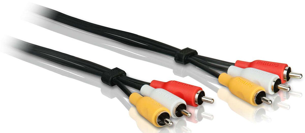 Philips SWV2532W/10 композитный кабель А/В, 1.5 мSWV2532W/10Никелированные разъемы для надежного подключенияНикелированные разъемы позволяют получить устойчивое соединение кабеля и разъема для надежного подключения.Экранирование неизолированной медьюЭкранирование неизолированной медью защищает от потери сигнала.Разъемы, маркированные цветом для быстрого распознаванияРазъемы, маркированные разными цветами, облегчают подключение кабелей к необходимым входам и выходам.Нескользящий эргономичный захват для простоты использованияНескользящий захват делает подключение компонентов эргономичным и удобным.Гибкая полихлорвиниловая оболочкаГибкая полихлорвиниловая оболочка обеспечивает защиту сердечника кабеля. Служит также для дополнительной прочности и удобства установки.Резиновый кабельный зажимРезиновый кабельный зажим обеспечивает безопасное и в то же время гибкое соединение между устройством и разъемом.