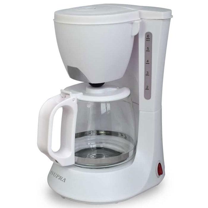 Supra CMS-0602, White кофеваркаCMS-0602 whiteРаскрыт секрет бодрости и свежести в течение всего дня. Никакого волшебства. Никаких существенных затрат. Просто заведите дома или на работе надежную и долговечную капельную кофеварку Supra CMS-0602. Большая чаша объемом 600 мл позволит за раз приготовить кофе на 5-6 человек (или чашек, если вы поглощаете кофе в одиночестве и в большом количестве). Все это море кофе можно держать в полной боеготовности благодаря режиму поддержания тепла. А многоразовый фильтр позволит вам не только сэкономить, но и избежать неловкой ситуации, когда молотый кофе под рукой, а фильтры кончились.