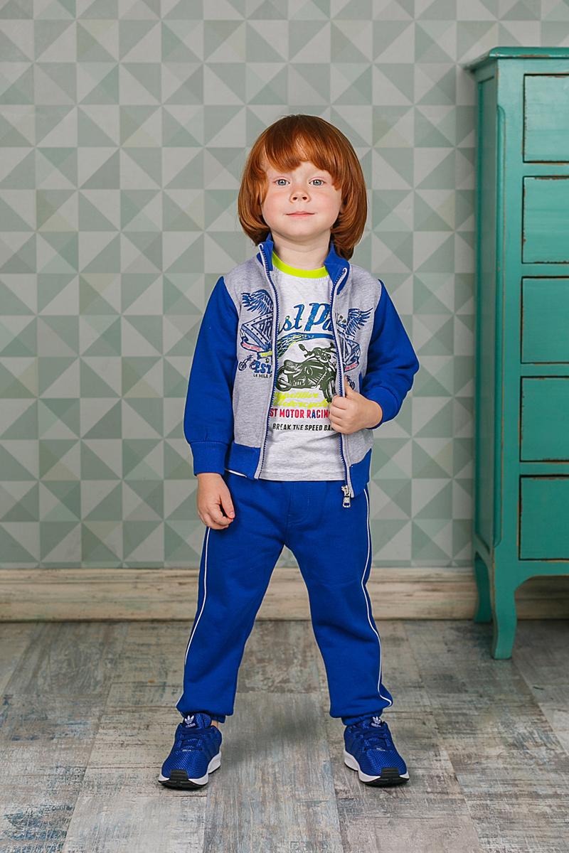 Спортивный костюм для мальчика Sweet Berry, цвет: синий. 206139. Размер 80206139Спортивный костюм для мальчика Sweet Berry состоит из толстовки и брюк. Костюм изготовлен из трикотажного материала. Толстовка с воротником-стойкой и длинными рукавами застегивается на застежку-молнию, оформлена оригинальным принтом, а также двумя карманами. Манжеты, воротник и низ модели выполнены из трикотажной резинки. Спортивные брюки прямого кроя в поясе имеют широкую эластичную резинку, регулируемую шнурком.