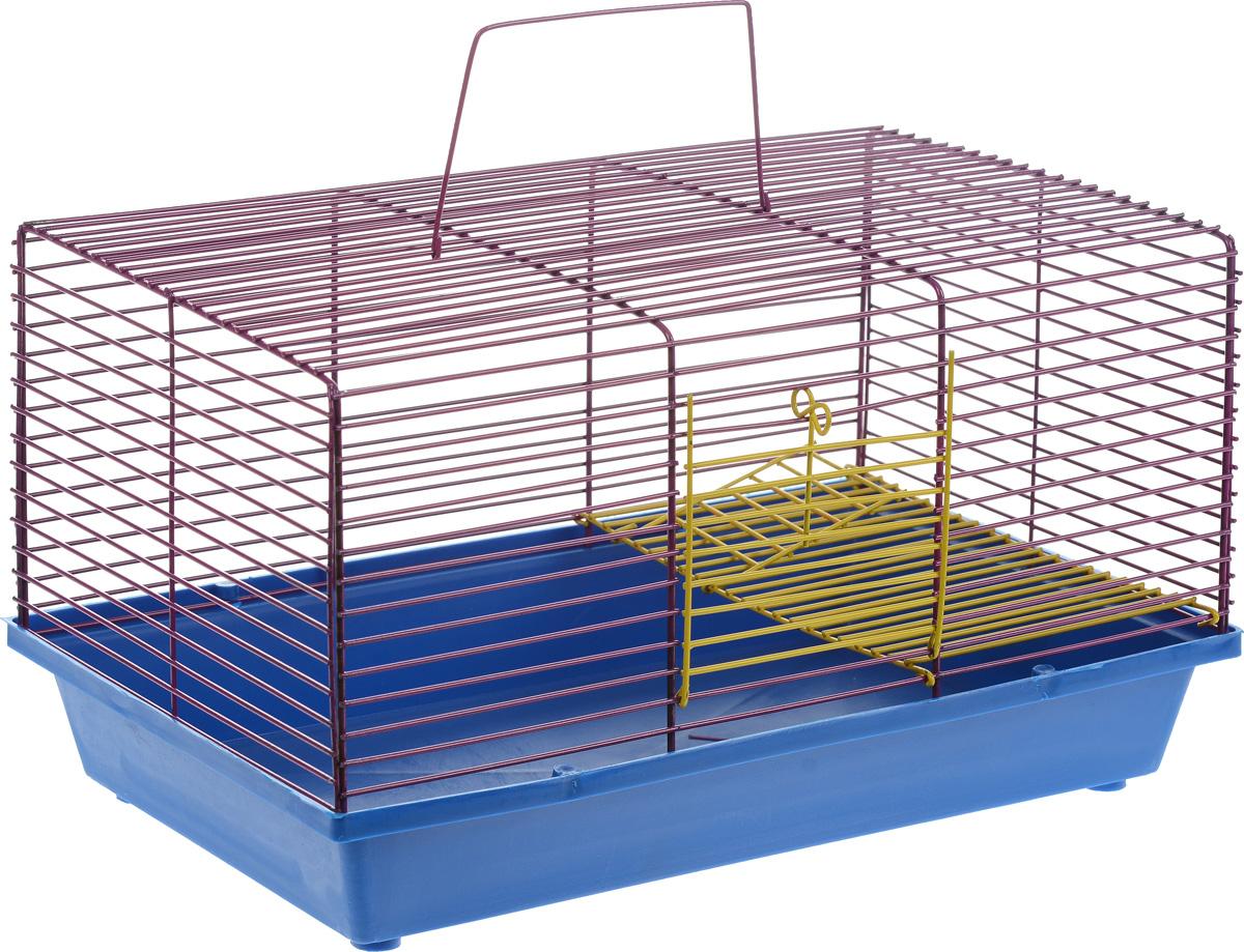 Клетка для хомяка ЗооМарк, 2-этажная, цвет: синий поддон, фиолетовая решетка, 36 х 23 х 20 см111_синий/фиолетовыйДвухэтажная клетка Зоомарк, выполненная из полипропилена и металла, подходит для хомяков или других небольших грызунов. Она имеет яркий поддон, удобна в использовании и легко чистится. Такая клетка станет уединенным личным пространством и уютным домиком для маленького грызуна. Размер клетки: 36 см х 23 см х 20 см.