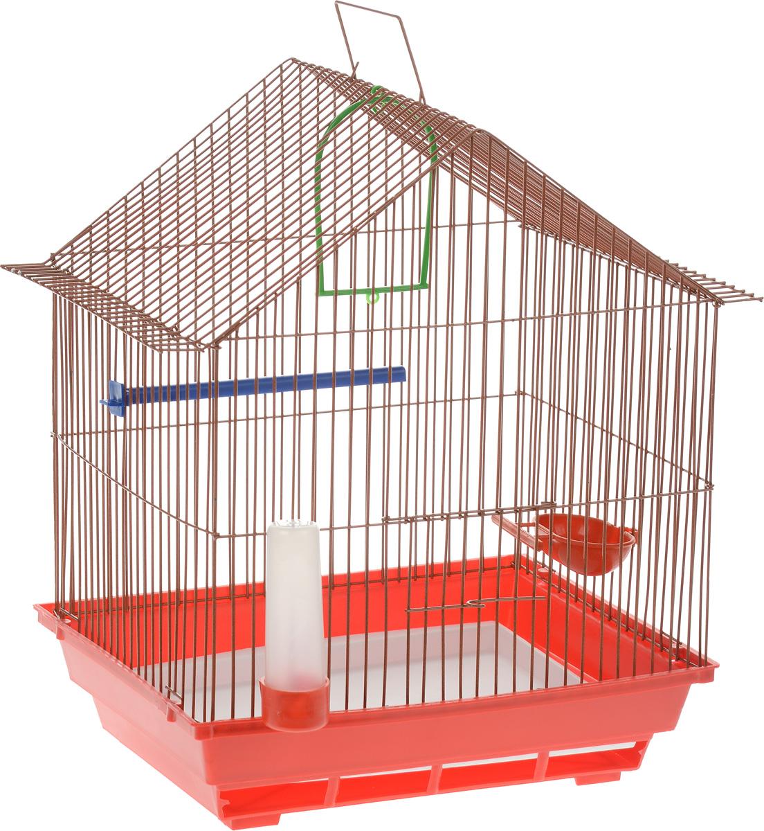 Клетка для птиц ЗооМарк, цвет: красный поддон, оранжевая решетка, 39 х 28 х 42 см410_красный/оранжевыйКлетка ЗооМарк, выполненная из полипропилена и металла с эмалированным покрытием, предназначена для мелких птиц. Изделие состоит из большого поддона и решетки. Клетка снабжена металлической дверцей. В основании клетки находится малый поддон. Клетка удобна в использовании и легко чистится. Она оснащена кольцом для птицы, поилкой, кормушкой и подвижной ручкой для удобной переноски. Комплектация: - клетка с поддоном; - малый поддон; - поилка; - кормушка;- кольцо.