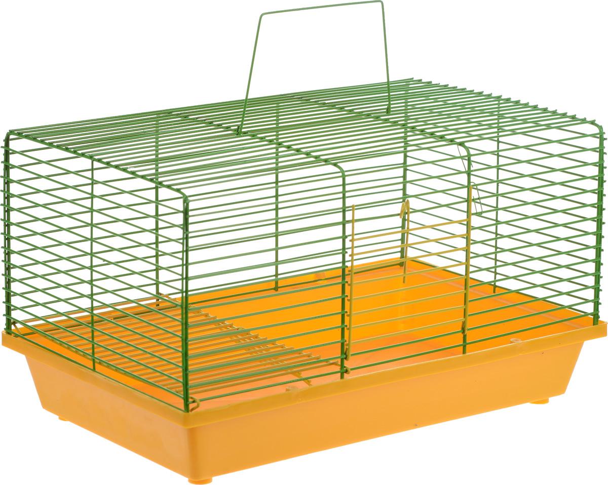 Клетка для хомяка ЗооМарк, 2-этажная, цвет: желтый поддон, зеленая решетка, 36 х 23 х 20 см игрушка triol столбик и туннель цвет кремовый коричневый 24 х 21 х 23 см