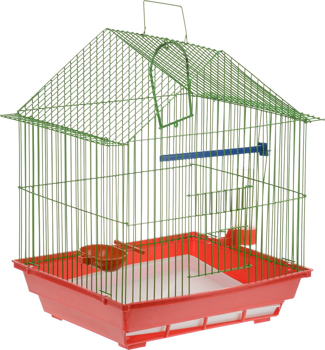 Клетка для птиц ЗооМарк, цвет: красный поддон, зеленая решетка, 39 х 28 х 42 см410_красный/зеленыйКлетка ЗооМарк, выполненная из полипропилена и металла с эмалированным покрытием, предназначена для мелких птиц. Изделие состоит из большого поддона и решетки. Клетка снабжена металлической дверцей. В основании клетки находится малый поддон. Клетка удобна в использовании и легко чистится. Она оснащена кольцом для птицы, поилкой, кормушкой и подвижной ручкой для удобной переноски. Комплектация: - клетка с поддоном; - малый поддон; - поилка; - кормушка;- кольцо.Размер клетки: 39 см х 28 см х 42 см.