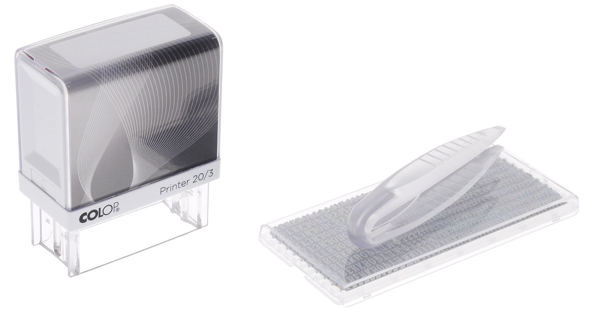 Colop Штамп самонаборный трехстрочный с персонализацией Printer colop оснастка для штампа 18 мм х 47 мм цвет белый