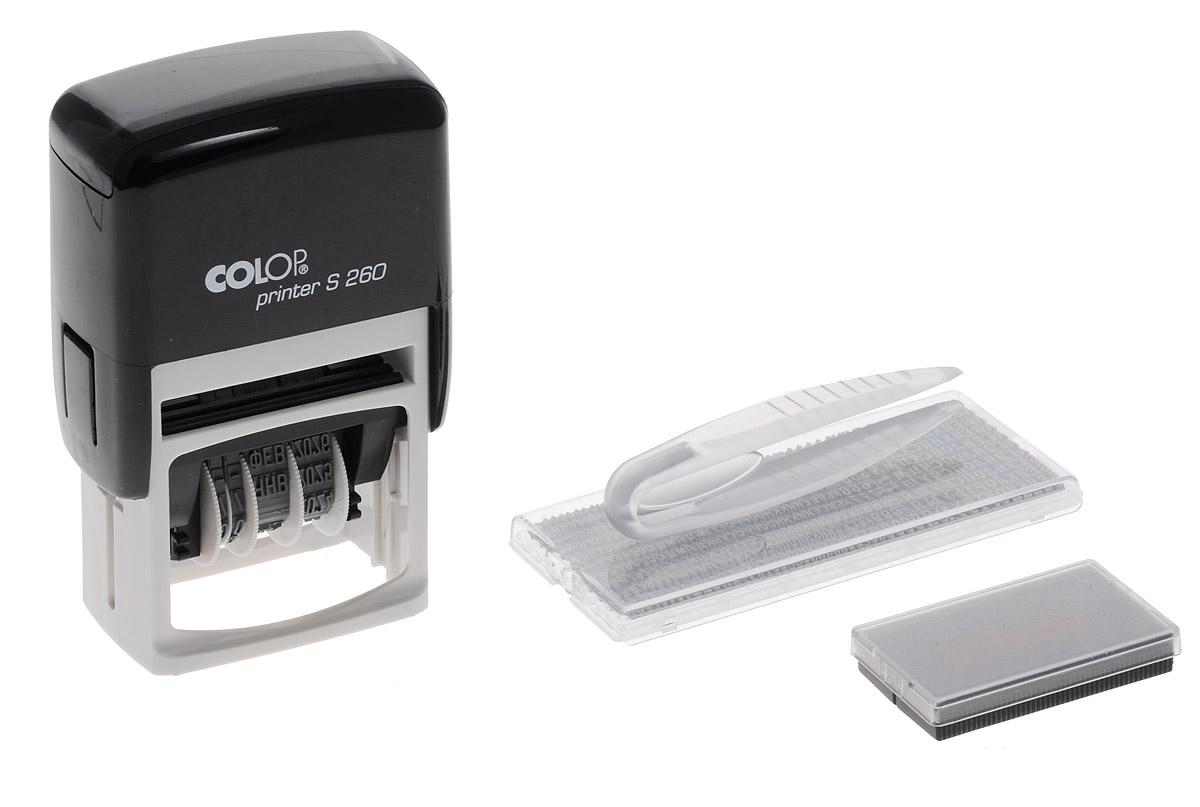 Colop Датер самонаборный двухстрочный Printer S 260-SetPrinter S 260-SetДатер самонаборный двухстрочный Colop Printer S 260-Set имеет надежный пластиковый корпус с автоматическим окрашиванием текста. Подходит для работы в бухгалтерии, на складе, в банке.Рифленая пластина для набора текста расположена вокруг даты. Рассчитан на 12 лет, включая текущий год. Месяц указывается прописью.