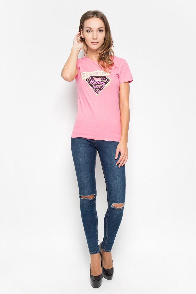 Футболка женская RHS Superman, цвет: розовый. 44410. Размер S (44)44410Женская футболка RHS Superman, выполненная из натурального хлопка, поможет создать отличный современный образ в стиле Casual. Футболка с круглым вырезом горловины и короткими рукавами. Модель оформлена принтом со знаком в стиле супермена и надписью Super Girl.Такая футболка станет стильным дополнением к вашему гардеробу, она подарит вам комфорт в течение всего дня!