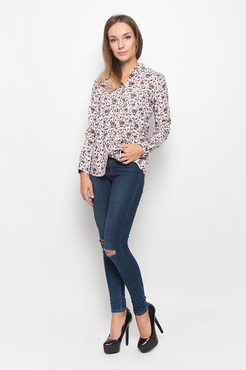 Купить Блузка женская Sela Casual, цвет: белый, коричневый. B-112/1040-6393. Размер XS (42)