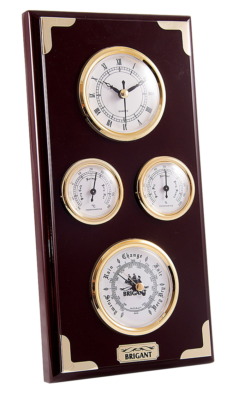 Метеостанция Brigant: барометр, часы, термометр, гигрометр, 17х32 см. 2804828048