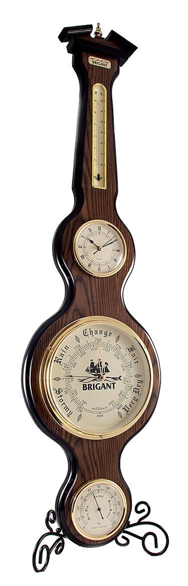 Часы-метеостанция Brigant: часы, барометр, термометр, гигрометр, цвет: темное дерево28149Часы-метеостанция Brigant выполнены в виде массивной деревянной лакированной панели с расположенными на ней часами, термометром, барометром и гигрометром. Модель выполнена в духе морской тематики, хромировка под золото и темный благородный цвет дерева делают этот предмет интерьера заслуживающим восхищения и гордости.Прилагается инструкция по эксплуатации на русском языке.Характеристики: Материал: дерево, стекло, металл. Размер панели: 102 см х 27 см. Диаметр часов: 9,5 см. Диаметр барометра: 19,5 см. Диаметр гигрометра: 9,5 см. Длина термометра: 22 см.