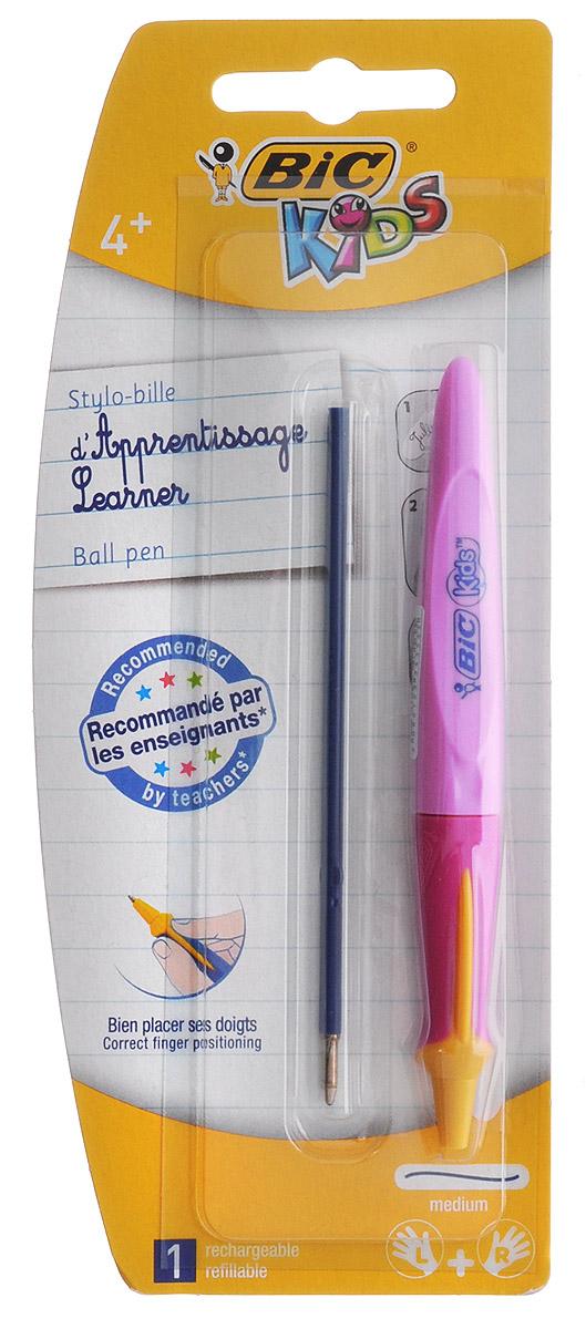 Bic Ручка шариковая Kids Twist цвет корпуса розовыйB919289_розовыйАвтоматическая шариковая ручка Kids Twist разработана специально для детей, обучающихся письму. Оригинальный яркий выпуклый край помогает правильно расположить ручку в руке. В ручке сменяемый стержень, выдвигающийся с помощью поворота корпуса. Подходит как правшам, так и левшам. Яркий цветной корпус поднимет настроение ребенка во время занятий.В комплекте ручка со стержнем и дополнительный стержень с синими чернилами.