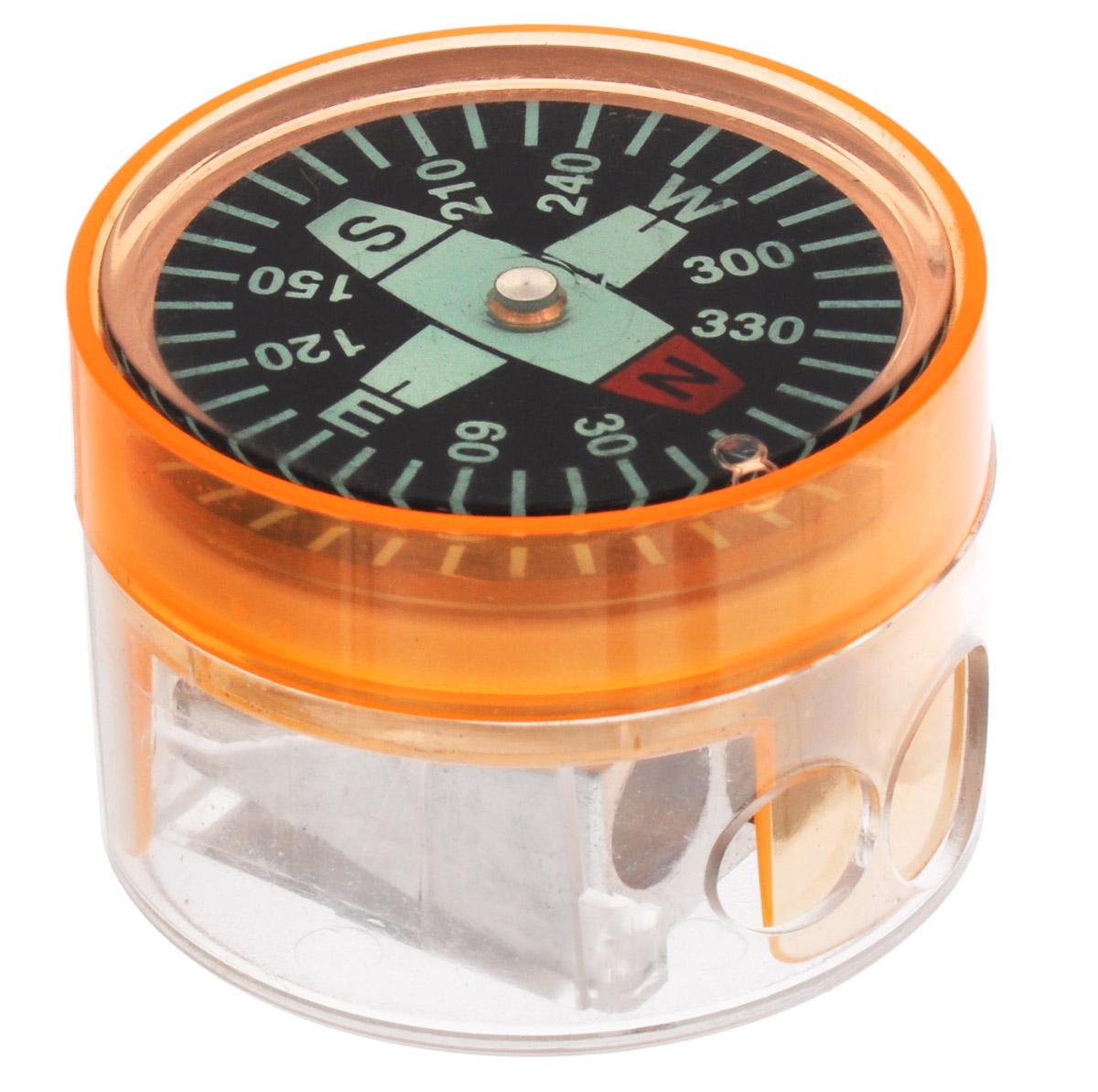 Brunnen Точилка двойная Компас цвет оранжевый29836\255718\BCD_оранжевыйТочилка двойная Компас выполнена из прочного пластика.В точилке имеются два отверстия для карандашей разного диаметра, подходит для различных видов карандашей. При повороте пластикового контейнера, отверстия закрываются.Полупрозрачный контейнер для сбора стружки позволяет визуально контролировать уровень заполнения и вовремя производить очистку. В дно контейнера встроен небольшой компас.