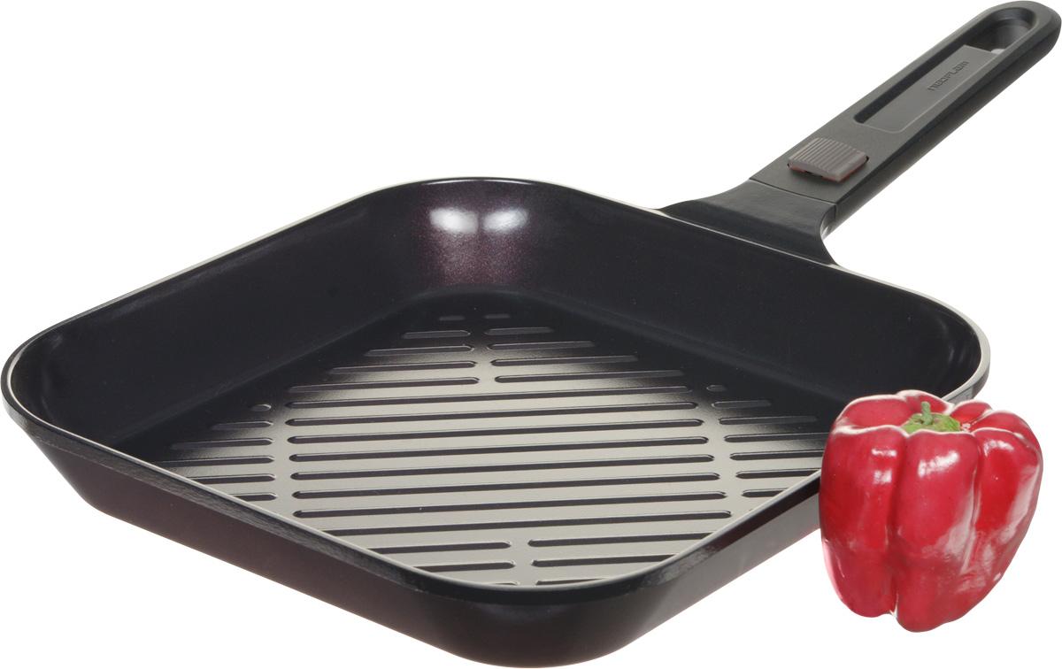 """Корпус сковороды-гриль Frybest """"MyPan"""" изготовлен из высококачественного литого алюминия с керамическим антипригарным покрытием. Она отлично подойдет для тушения, жарки, запекания и выпечки - механизм съемной ручки позволяет доводить блюда до готовности, переставляя с плиты в духовой шкаф.Основные характеристики: - съемная ручка с легкой и надежной системой крепления; - современное и экологичное керамическое покрытие Ecolon Superior - не пригорает, легко моется и устойчиво к царапинам и повреждениям; - оптимальная толщина дна и стенок для равномерного прогрева; - ребристая поверхность дна задержит излишки масла и жир, чтобы стейк был максимально полезным.Подходит для всех видов плит, кроме индукционных. Размер (по верхнему краю): 28 х 28 см.Высота: 4,5 см.Длина ручки: 18,5 см."""