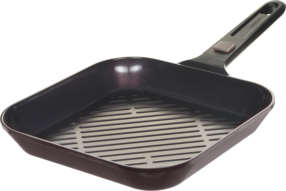 Сковорода-гриль Frybest MyPan, с керамическим покрытием, со съемной ручкой, 28 х 28 смEK-MP-G28Корпус сковороды-гриль Frybest MyPan изготовлен из высококачественного литого алюминия с керамическим антипригарным покрытием. Она отлично подойдет для тушения, жарки, запекания и выпечки - механизм съемной ручки позволяет доводить блюда до готовности, переставляя с плиты в духовой шкаф.Основные характеристики: - съемная ручка с легкой и надежной системой крепления; - современное и экологичное керамическое покрытие Ecolon Superior - не пригорает, легко моется и устойчиво к царапинам и повреждениям; - оптимальная толщина дна и стенок для равномерного прогрева; - ребристая поверхность дна задержит излишки масла и жир, чтобы стейк был максимально полезным.Подходит для всех видов плит, кроме индукционных. Размер (по верхнему краю): 28 х 28 см.Высота: 4,5 см.Длина ручки: 18,5 см.