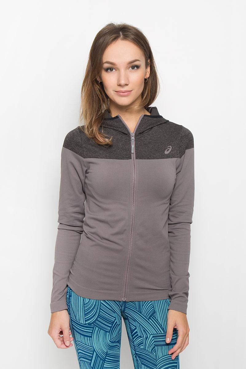 Толстовка для фитнеса женская Asics Jacket Seamless, цвет: темно-серый, серо-сиреневый. 134490-7004. Размер M (44/46) толстовка женская puma urban sports fz hoody цвет темно зеленый 59404414 размер m 44 46