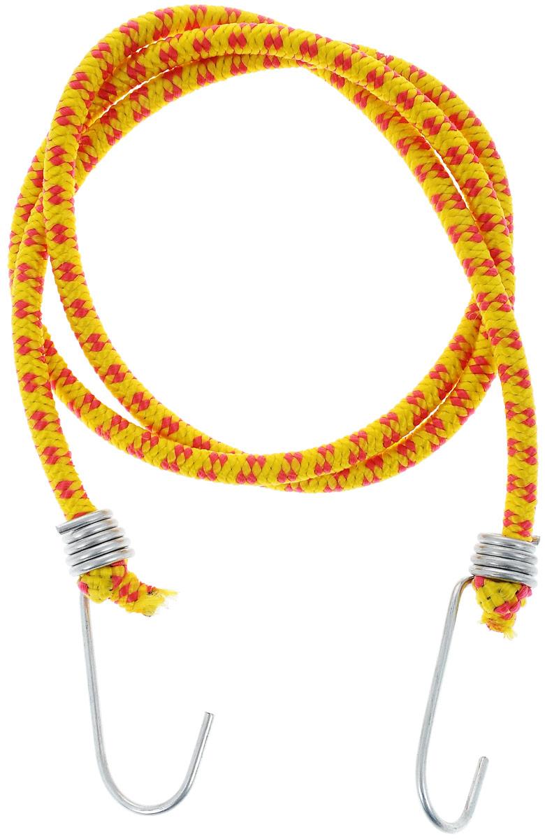 Резинка багажная МастерПроф, с крючками, цвет: желтый, красный, 0,6 х 110 смАС.020022_желтый, красныйБагажная резинка МастерПроф, выполненная из синтетического каучука, оснащена специальными металлическими крюками, которые обеспечивают прочное крепление и не допускают смещения груза во время его перевозки. Изделие применяется для закрепления предметов к багажнику. Такая резинка позволит зафиксировать как небольшой груз, так и довольно габаритный.Температура использования: -15°C до +50°C.Безопасное удлинение: 60%.Толщина резинки: 0,6 см.Длина резинки: 110 см.