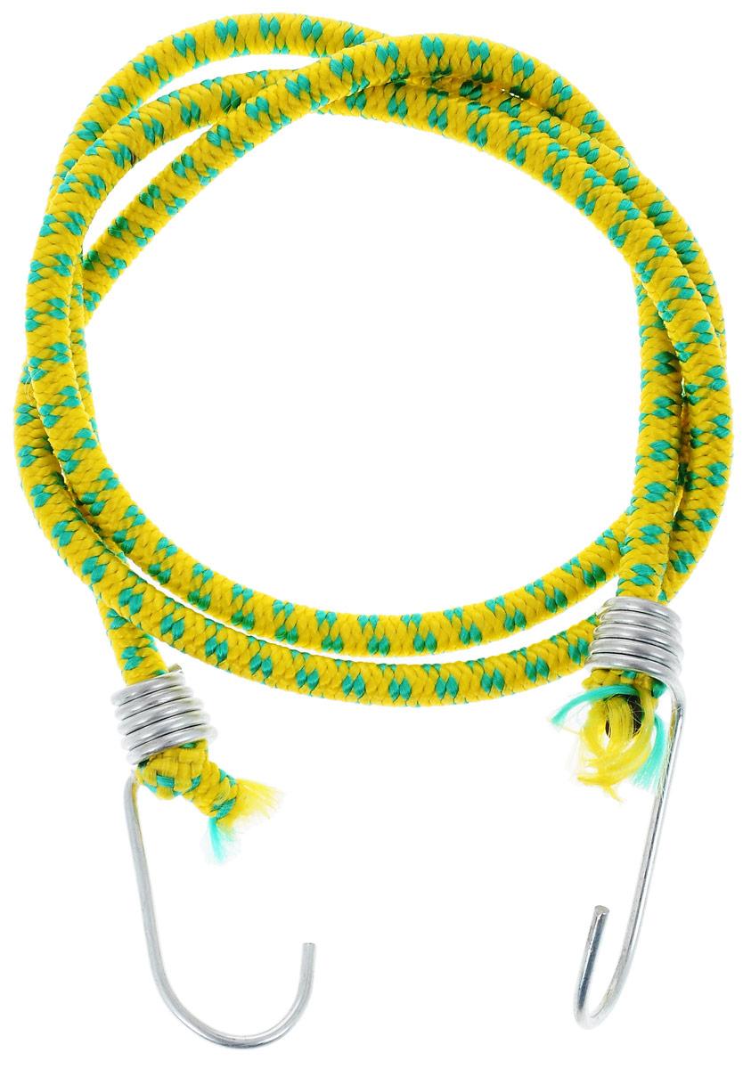 Резинка багажная МастерПроф, с крючками, цвет: желтый, зеленый, 0,6 х 110 смАС.020022_желтый, зеленыйБагажная резинка МастерПроф, выполненная из синтетического каучука, оснащена специальными металлическими крюками, которые обеспечивают прочное крепление и не допускают смещения груза во время его перевозки. Изделие применяется для закрепления предметов к багажнику. Такая резинка позволит зафиксировать как небольшой груз, так и довольно габаритный.Температура использования: -15°C до +50°C.Безопасное удлинение: 60%.Толщина резинки: 0,6 см.Длина резинки: 110 см.