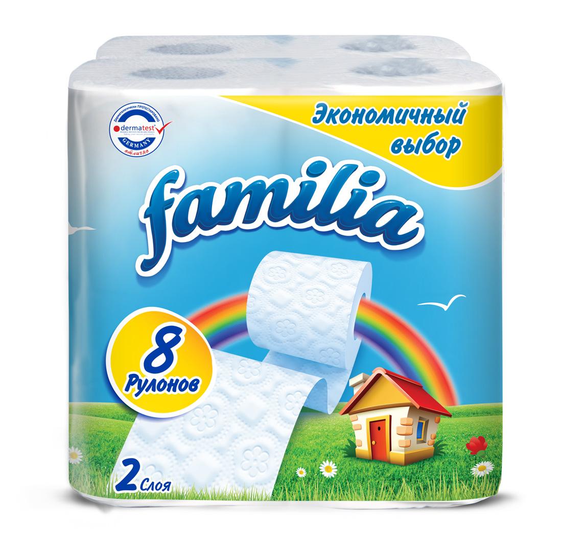 "Фото Туалетная бумага Familia ""Радуга"", двухслойная, 8 рулонов"