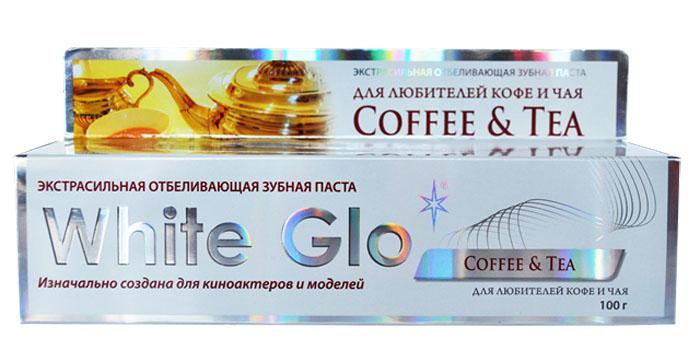 White Glo Зубная паста, отбеливающая для любителей кофе и чая, 100 г129938Специальная формула отбеливания борется с потемнением зубной эмали, возникающим в результате потребления кофе или чая. Защищает зубную эмаль от возникновения новых пятен, благодаря специальным микровосковым частицам. Содержит богатое витаминами А, С и Е масло семян шиповника, которое повышает защитные свойства слизистой оболочки полости рта.