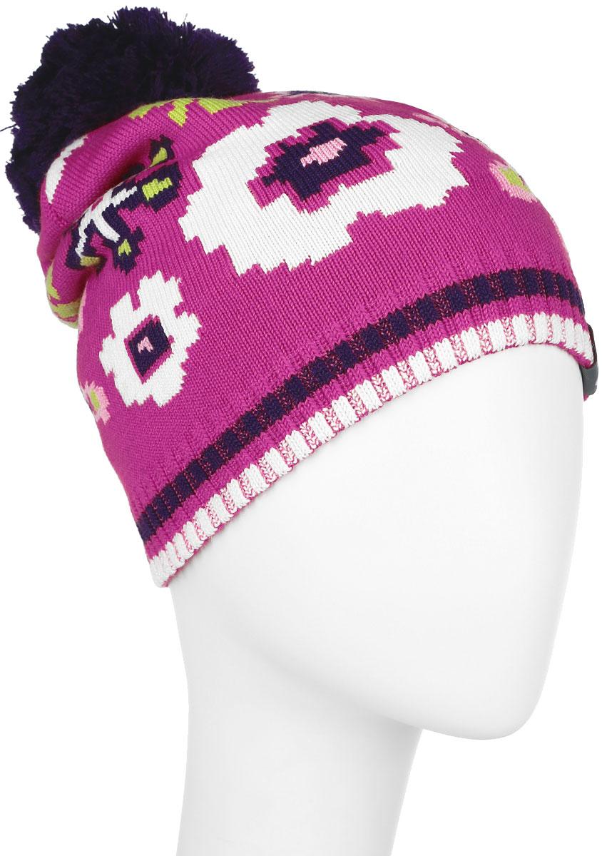 Шапка для девочки Huppa Floral, цвет: фуксия. 80360000-60063. Размер 5780360000-60063Вязанная шапка для девочки Huppa Floral станет отличным дополнением к детскому гардеробу. Изделие изготовлено из теплой мериносовой шерсти с добавлением акрила, что обеспечивает тепло и комфорт. Благодаря эластичной вязке, шапка идеально прилегает к голове ребенка.Шапка с пушистым помпоном украшена цветочным принтом. Спереди модель дополнена светоотражающей нашивкой.Оригинальный дизайн и расцветка делают эту шапку стильным предметом детского гардероба. В ней ребенку будет тепло, уютно и комфортно. Уважаемые клиенты!Размер, доступный для заказа, является обхватом головы.