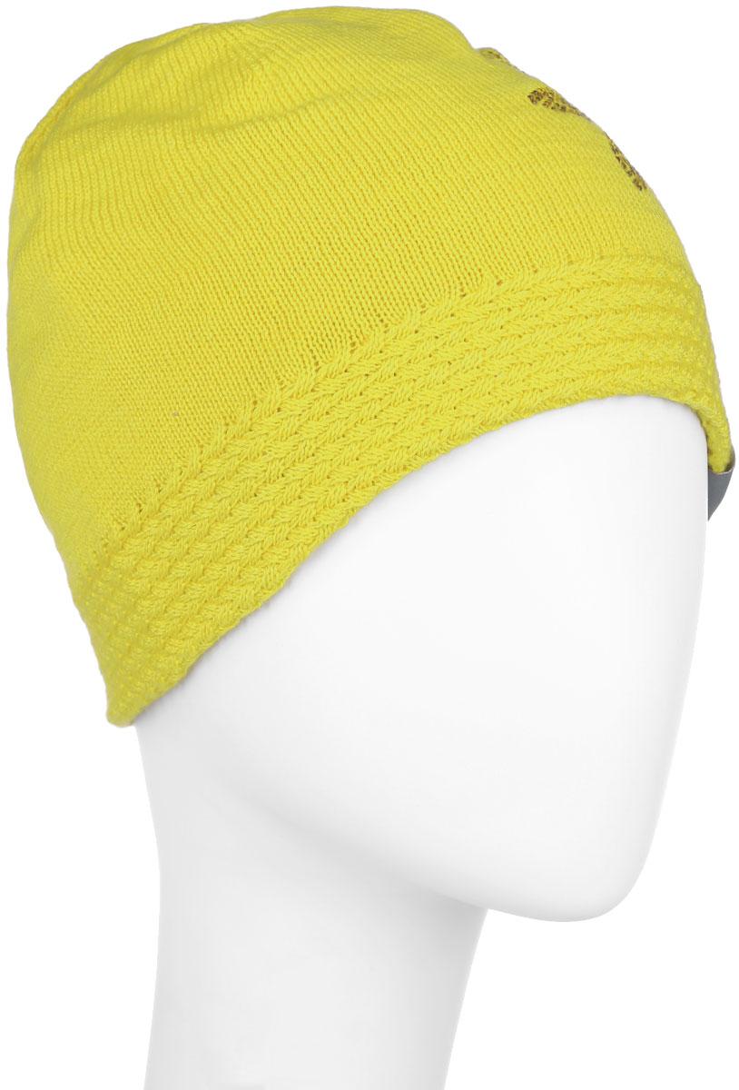 Шапка для девочки Huppa Eliisa, цвет: желтый. 80150000-60002. Размер 55/5780150000-60002Вязаная шапка для девочки Huppa Eliisa не даст замерзнуть вашему ребенку в прохладную погоду. Изделие изготовлено из теплой шерсти с добавлением акрила, что обеспечивает тепло и комфорт. Благодаря эластичной вязке, шапка идеально прилегает к голове ребенка.Шапка выполнена из мелкой вязки, внизу дополнена вязанной резинкой. Спереди оформленааппликацией в виде цветочка, выполненной из блестящих страз, так же модель имеет небольшую нашивку с логотипом бренда.Оригинальный дизайн и расцветка делают эту шапку стильным предметом детского гардероба. В ней ребенку будет тепло, уютно и комфортно. Уважаемые клиенты!Размер, доступный для заказа, является обхватом головы.