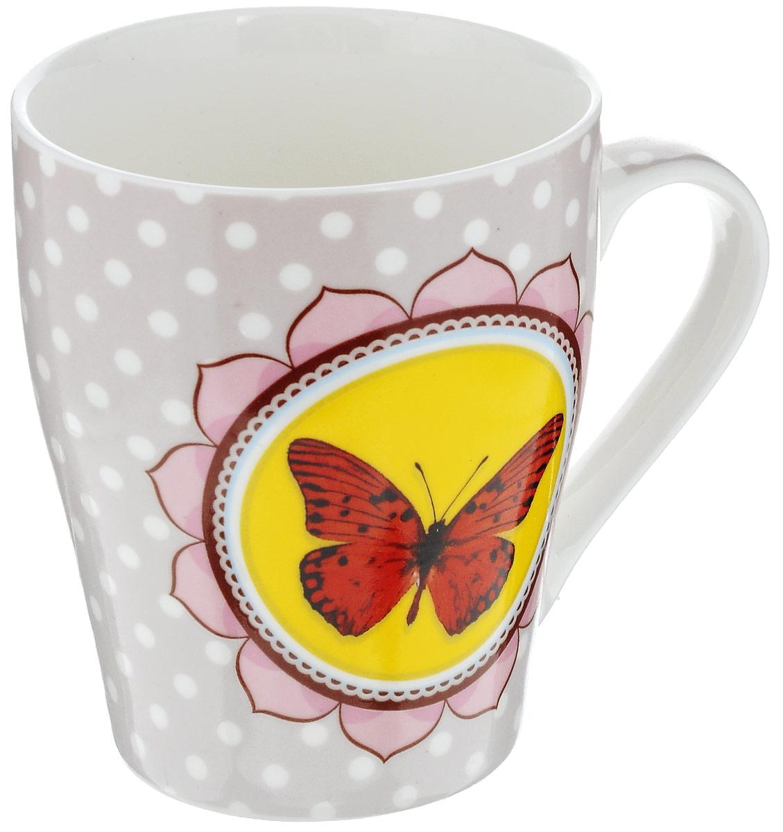 Кружка Loraine Бабочка, цвет: розовый, желтый, красный, 340 мл кружки из императорского фарфора купить в спб
