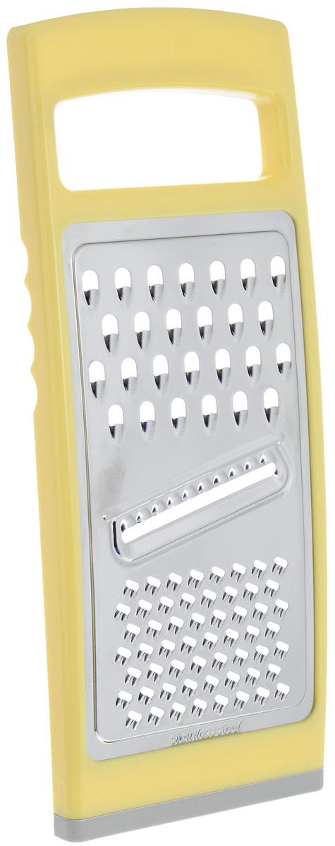 Терка плоская Tescoma Handy, цвет: желтый643764_желтыйТерка плоская Tescoma Handy предназначена для простого и быстрого измельчения и нарезки на ломтики всех обычных видов продуктов - овощей, фруктов, сыра, шоколада и т.д. Терка изготовлена из первоклассной нержавеющей стали и прочной пластмассы белого цвета. Противоскользящая обработка для безопасного использования. Благодаря своим компактным размерам терка не займет много места на вашей кухне.Пригодна для мытья в посудомоечной машине.Размер терки: 27,5 см х 11,5 см х 1,5 см.