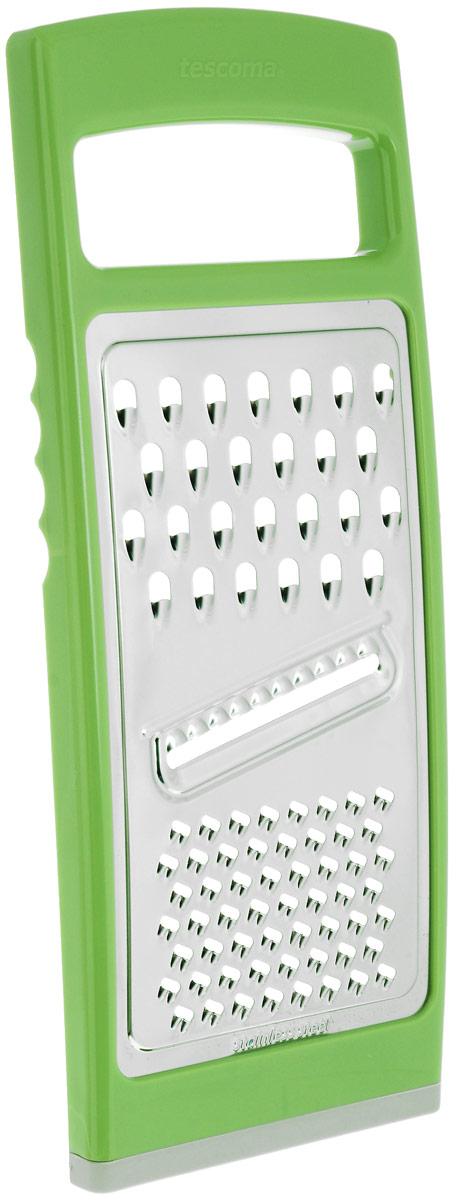Терка плоская Tescoma Handy, цвет: зеленый643764_зеленыйТерка Tescoma Handy замечательна для простого и быстрого измельчения и нарезки на ломтики всех обычных видов продуктов. Изготовлена из первоклассной нержавеющей стали и прочной пластмассы, противоскользящая обработка для безопасного использования. Можно мыть в посудомоечной машине.Размер терки: 27,5 см х 11,5 см х 1,5 см.