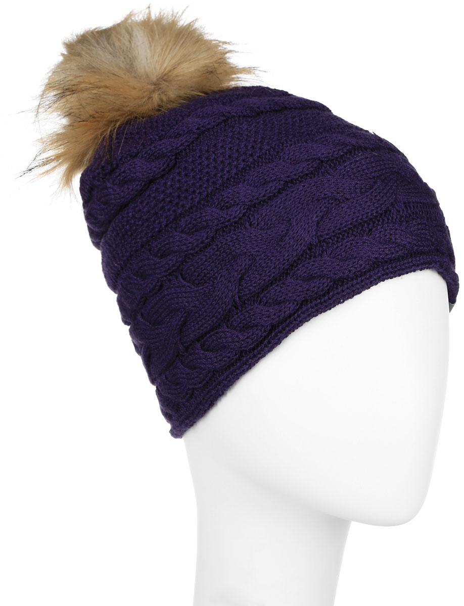 Шапка для девочки Huppa Melissa, цвет: темно-лиловый. 80210000-60053. Размер 55/5780210000-60053Вязанная шапка для девочки Huppa Melissa станет отличным дополнением к детскому гардеробу. Изделие изготовлено из натуральной шерсти с добавлением акрила, что обеспечивает тепло и комфорт. Благодаря эластичной вязке, шапка идеально прилегает к голове ребенка.Шапка с пушистым меховым помпоном оформлена вязаным узором, спереди украшена светоотражающей нашивкой с логотипом бренда.Оригинальный дизайн и расцветка делают эту шапку стильным предметом детского гардероба. В ней ребенку будет тепло, уютно и комфортно. Уважаемые клиенты!Размер, доступный для заказа, является обхватом головы.