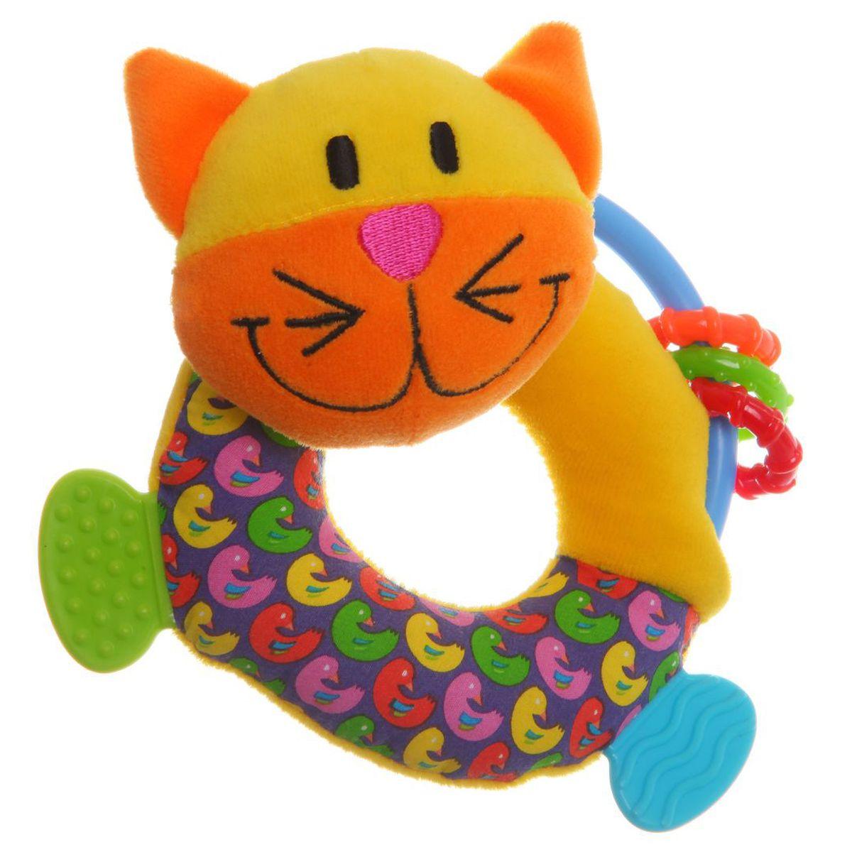 Bondibon Мягкая игрушка-погремушка Кот цвет желтый синий