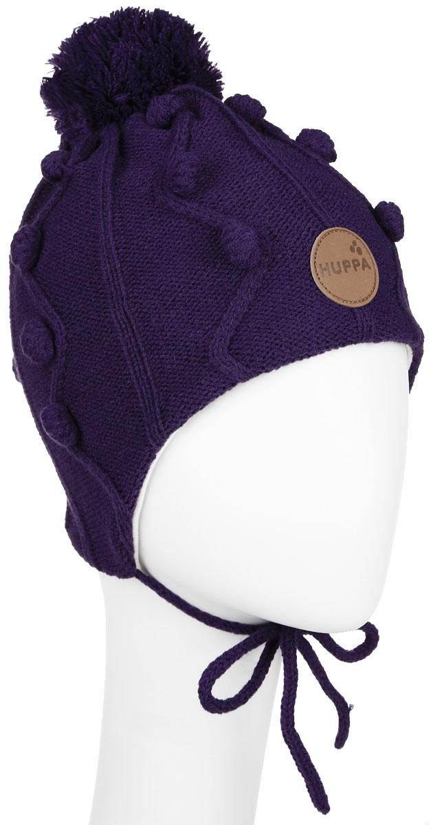 Шапка для девочки Huppa Ulla, цвет: темно-лиловый. 83880000-60053. Размер 47/49 шапка шлем детская huppa coco цвет темно фиолетовый 85070000 70053 размер s 47 49