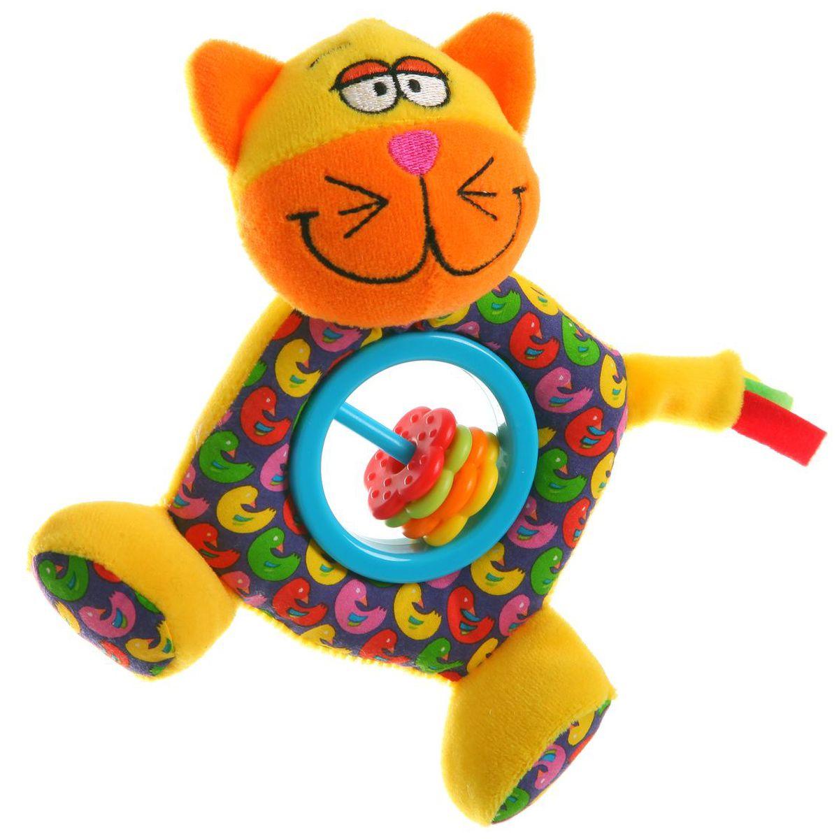 Bondibon Мягкая игрушка-погремушка Кот цвет желтый оранжевый голубой bondibon мягкая игрушка погремушка слоник