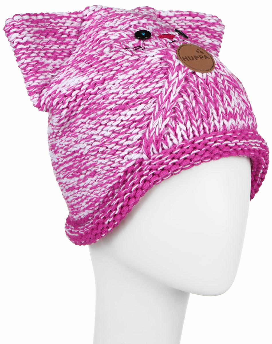 Шапка для девочки Huppa Mattia, цвет: фуксия, белый. 80230000-60163. Размер 47/49 шапка шлем детская huppa coco цвет темно фиолетовый 85070000 70053 размер s 47 49
