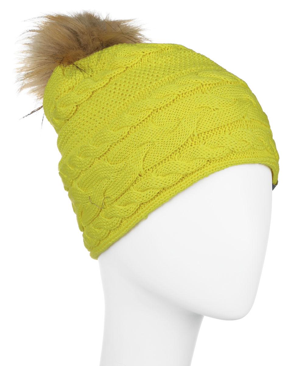 Шапка для девочки Huppa Melissa, цвет: желто-зеленый. 80210000-60002. Размер 55/5780210000-60002Вязанная шапка для девочки Huppa Melissa станет отличным дополнением к детскому гардеробу. Изделие изготовлено из натуральной шерсти с добавлением акрила, что обеспечивает тепло и комфорт. Благодаря эластичной вязке, шапка идеально прилегает к голове ребенка.Шапка с пушистым меховым помпоном оформлена вязаным узором, спереди украшена светоотражающей нашивкой с логотипом бренда.Оригинальный дизайн и расцветка делают эту шапку стильным предметом детского гардероба. В ней ребенку будет тепло, уютно и комфортно. Уважаемые клиенты!Размер, доступный для заказа, является обхватом головы.