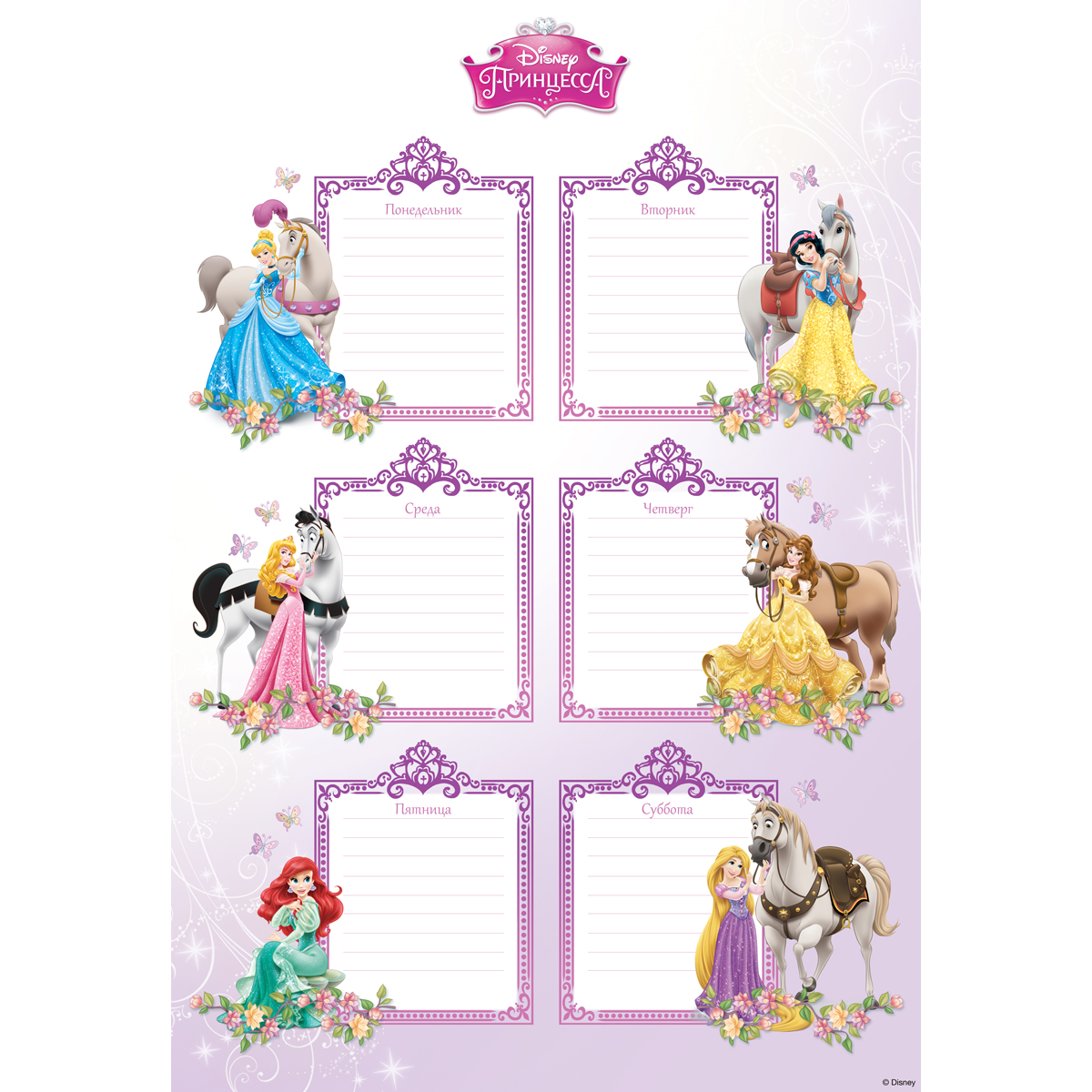 Decoretto Наклейка Школьное расписание Мир принцесс decoretto виниловая наклейка комнатное растение