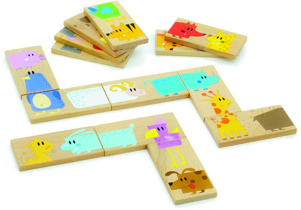 Мир деревянных игрушек Обучающая игра Домино Зоопарк мир деревянных игрушек конструктор каталка полиция