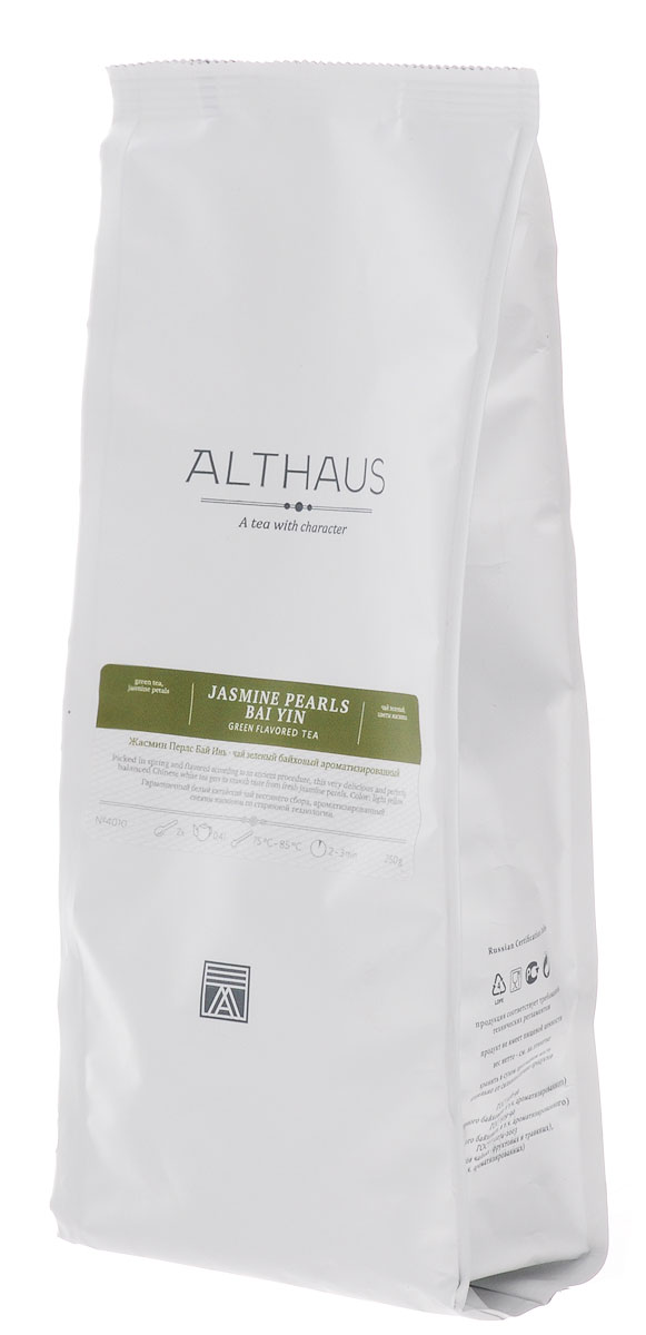 Althaus Jasmine Pearls Bai Yin зеленый листовой чай, 250 г supreme jasmine scented bai hao yin zhen white tea 250g 1 76 oz
