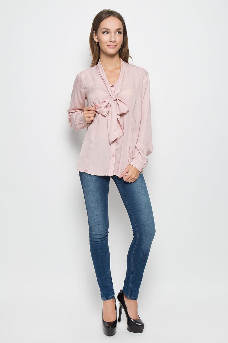 Блузка женская Finn Flare, цвет: пепельно-розовый. A16-170610_325. Размер M (46) блузка женская finn flare цвет лиловый синий бежевый s16 14085 814 размер m l 46 48