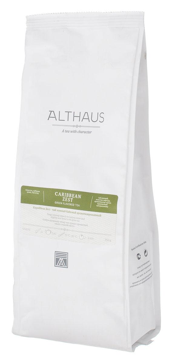 Althaus Caribbean Zest зеленый листовой чай, 250 гTALTHG-L00078Особую изюминку чаю Althaus Caribbean Zest придает ароматный кисло-сладкий саусеп, который раскрывается в ярком и густом фруктовом букете, обволакивающем, с оттенком спелого яблока и лимонада. Насыщенный медового цвета напиток обладает терпким, слегка дымным вкусом чая ганпаудер и деликатной кислинкой.Всё о чае: сорта, факты, советы по выбору и употреблению. Статья OZON Гид