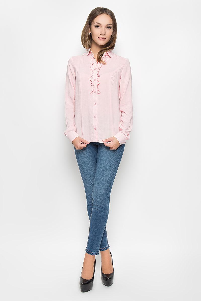 Блузка женская Finn Flare, цвет: пепельно-розовый. A16-11065_325. Размер L (48) блузка женская finn flare цвет лиловый синий бежевый s16 14085 814 размер m l 46 48