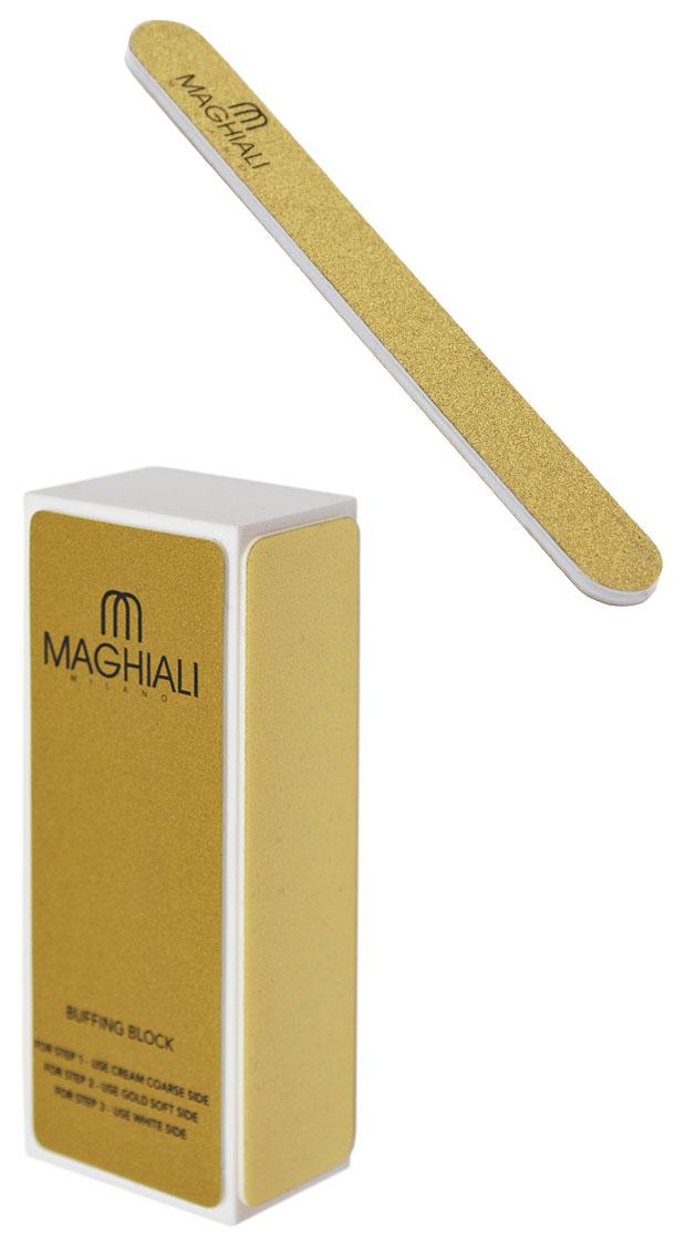 Maghiali Комплект баффер и пилка для ногтейУТ-00000145Полировочный бафф для ногтей предназначен для итогового выравнивания ногтевой пластины и удаления мелких бороздок. Имеет несколько граней с различным покрытием. Специалист или вы сами можете обрабатывать ногти этими участками в определенной последовательности.Не идеально ровную поверхность ногтей можно отшлифовать более жесткой стороной баффа. Если же ноготки ровные, их можно только слегка обработать самой мягкой стороной. Четырехсторонняя пилка для полировки ногтей служит для создания идеальной формы ногтевой пластины. После применения ноготки выглядят красивыми и ухоженными.Бафф имеет 4 стороны: 2 кремовые, золотую и белую. Они различаются материалом изготовления и степенью жесткости — изучите способы и частоту применения каждой из трех сторон баффа: