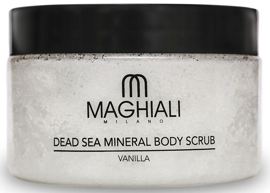 Maghiali Скраб для тела Dead sea Mineral, ваниль, 250 млУТ-00000158Содержит 100% соль Мертвого моря, обогощенную 27 витаминами и минералами Мертвого моря, а также кунжутное масло и масло семян жожоба, которые обеспечивают продолжительное увлажнение кожи. Скраб позволяет устранить омертвевшие клетки и загрязнения, скопившиеся в порах кожи, делая ее гладкой и приятной на ощупь. Особенно рекомендуется для придания мягкости ступням.