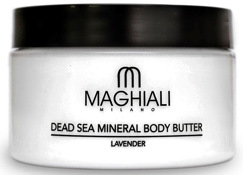 Maghiali Сливки для тела Dead sea Mineral, лаванда, 250 млУТ-00000186Крем-масло Maghiali для тела Лаванда с удивительно шелковистой текстурой на основе масла ши, богато жирными кислотами и витамином E.Эффективно смягчает кожу тела и улучшает уровень ее увлажненности, устраняет шелушение и раздражение, способствует замедлению процесса старения кожи и появления морщин.Масло для тела Maghiali прекрасно подходит для стран с холодным климатом. Обогащено маслом семян жожоба, соком алоэ и экстрактом ромашки для смягчения кожи. Формула масла для тела Maghiali содержит также 27 витаминов и минералов Мертвого моря, которые помогают поддерживать здоровое состояние кожи и придают ей ощущение свежести.Крем-масло Maghiali с экстрактом лаванды успокаивает, помогает избавиться от стресса, расслабляет.